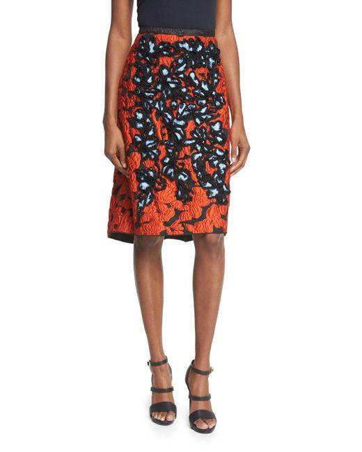 Oscar de la Renta | Black Embellished Jacquard High-waist Skirt | Lyst
