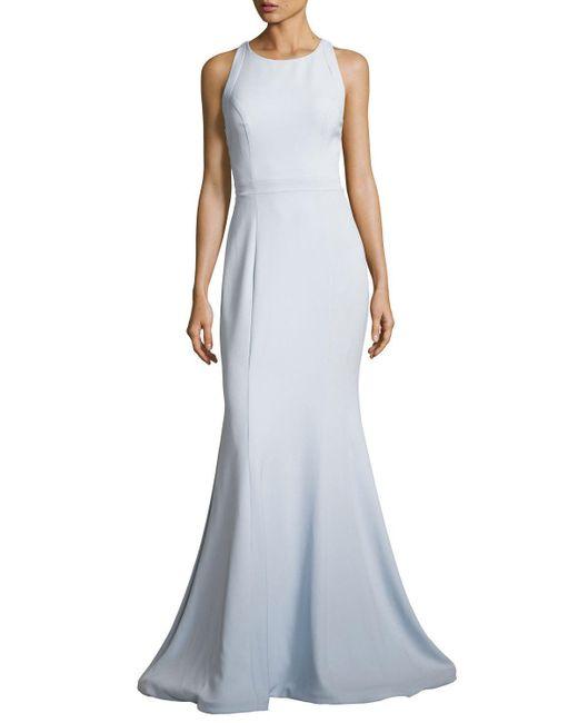 Jovani | Blue Sleeveless Stretch Crepe Cross-back Mermaid Gown | Lyst