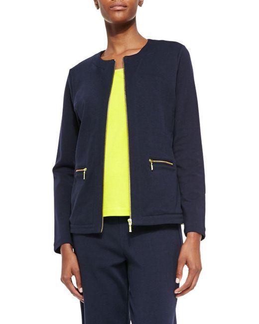 Joan Vass | Blue Stretch Interlock Zip-front Jacket | Lyst