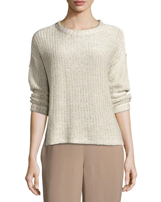 Eileen Fisher | Multicolor 3/4-sleeve Crisp Organic Textured Tape Box Top | Lyst