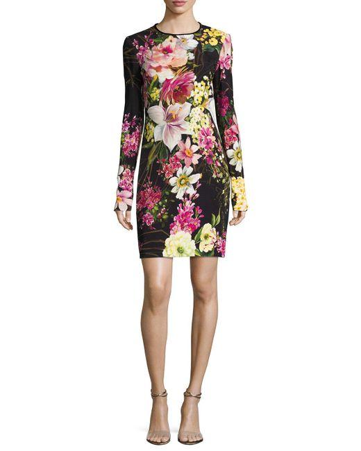 Naeem Khan | Black Long-sleeve Floral-print Dress | Lyst