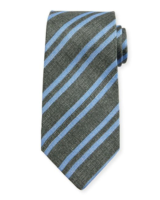 Kiton | Blue Chambray Striped Silk Tie for Men | Lyst