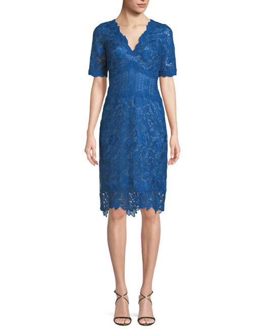 Tadashi Shoji - Blue Scalloped V-neck Lace Cocktail Dress - Lyst