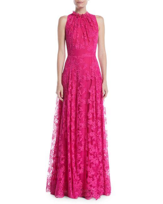 ESCADA - Pink Sleeveless Halter Ruffle-neck A-line Lace Evening Gown - Lyst