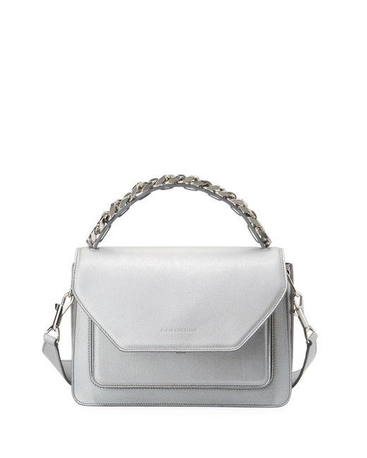 Elena Ghisellini Metallic Eclipse Medium Silver Madras Top Handle Bag