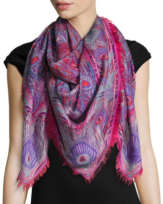Liberty - Red Hera Feather-print Cashmere & Silk Square Scarf - Lyst