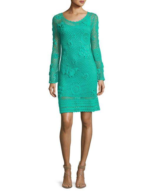 Trina Turk   Green Cottonwood Long-sleeve Crochet Sweaterdress   Lyst