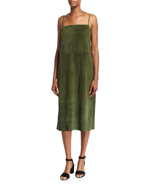 Robert Rodriguez | Green Suede Sleeveless Slip Midi Dress | Lyst