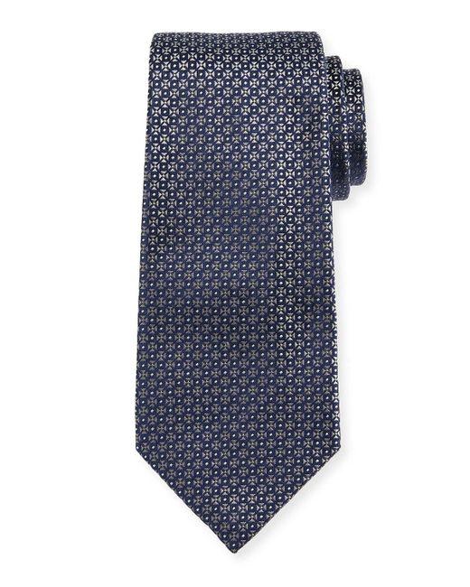 Giorgio Armani | Gray Mini-cross Medallion Silk Tie for Men | Lyst