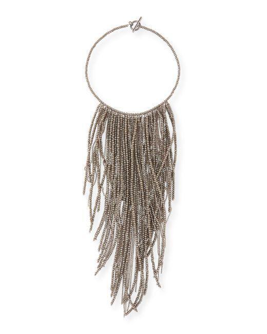 Brunello Cucinelli   Gray Monili Fringe Waterfall Necklace   Lyst