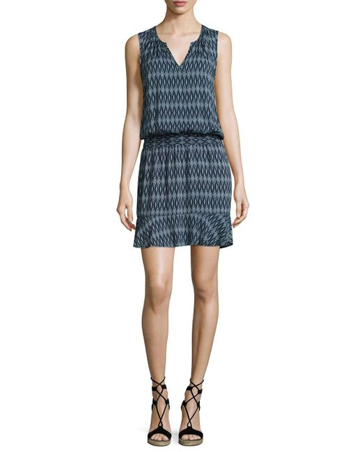 Soft Joie | Blue Zealana Split-neck Sleeveless Mini Dress | Lyst
