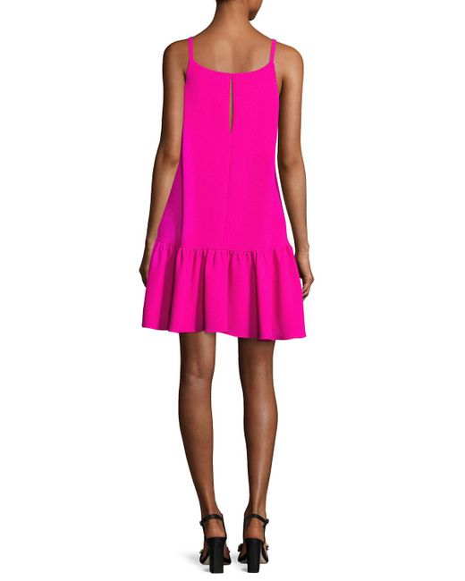 Trina Turk   Pink Conservatory Crepe Drop-waist Flounce Dress   Lyst
