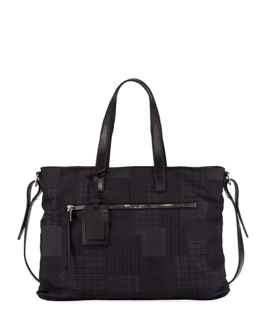 John Varvatos   Black Plaid-print Nylon Shopper Bag   Lyst
