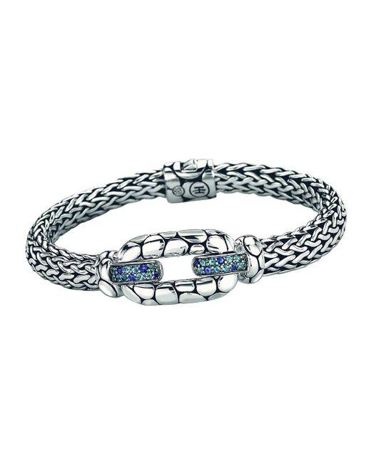 John Hardy | Kali Sterling Silver Bangle Bracelet With Blue Topaz And Iolite | Lyst
