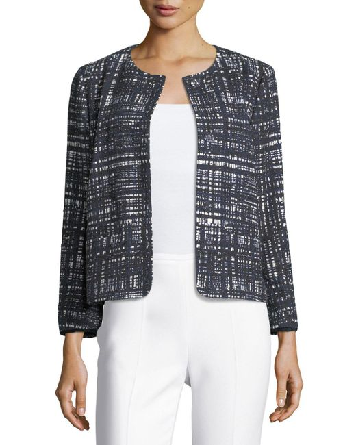 ESCADA | Blue Weave-print Collarless Jacket | Lyst