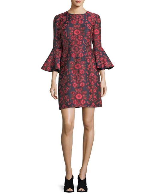 Trina Turk | Red Floral Jacquard Bell-sleeve Cocktail Dress | Lyst