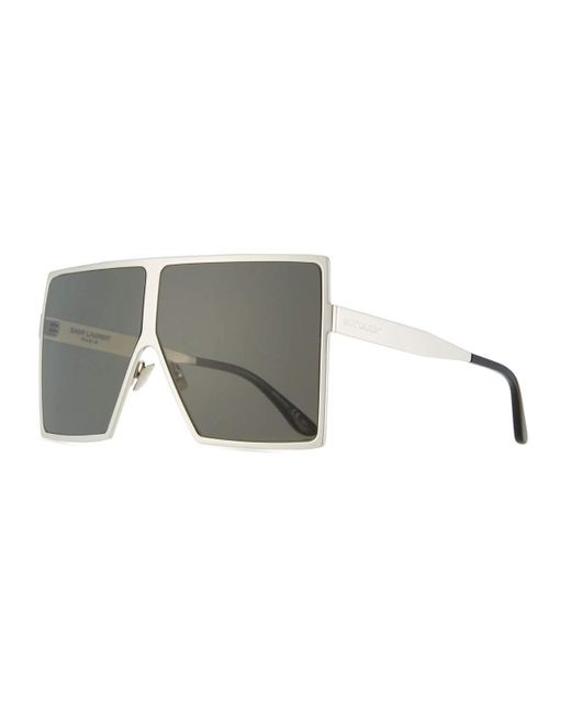 Saint Laurent | Gray New Wave 182 Betty Metal Shield Sunglasses | Lyst