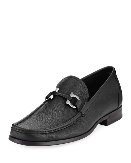 Ferragamo | Black Grandioso Grained Calf Leather Bit Loafer for Men | Lyst
