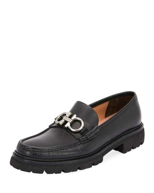 Ferragamo Black Men's Bleecker Leather Lug-sole Loafers With Reversible Bit for men