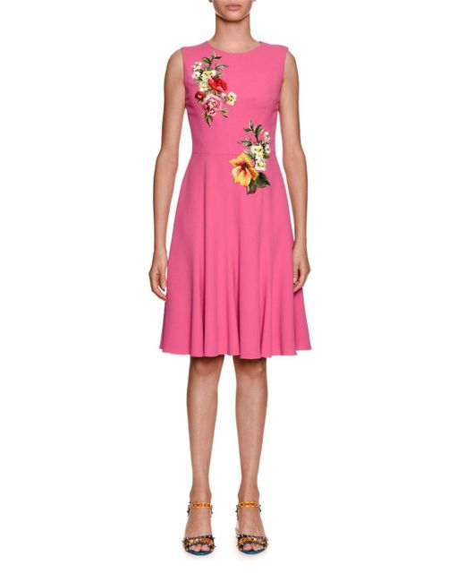 Dolce & Gabbana - Pink Sleeveless Stretch-cady Dress W/ Floral Applique - Lyst