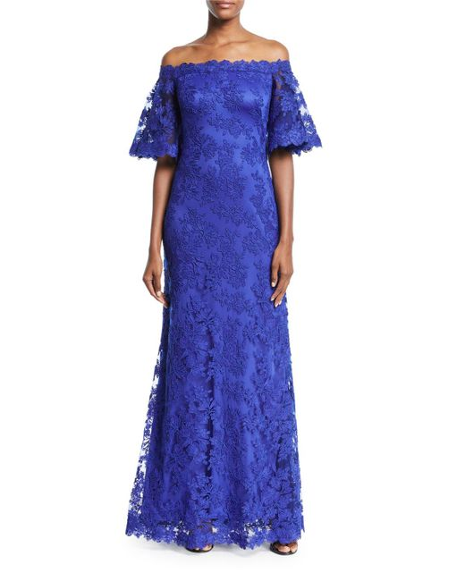 Lyst - Tadashi Shoji Lace Off-the-shoulder Long Gown in Blue