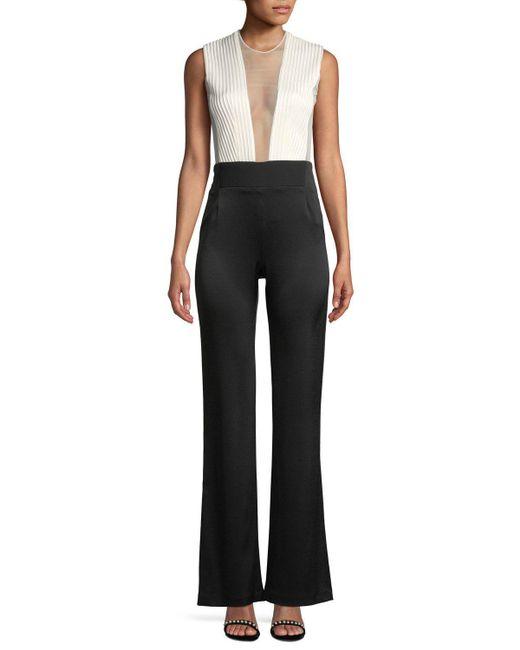 Galvan - Black Sleeveless Deep-v Sheer-tulle Bodice Bicolor Tuxedo Jumpsuit - Lyst
