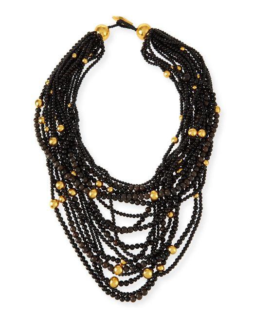 Viktoria Hayman Black Multi-strand Beaded Statement Necklace