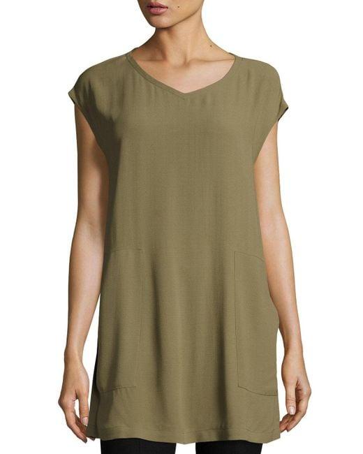 Eileen Fisher - Green V-neck Silk Georgette Crepe Tunic W/ Pockets - Lyst