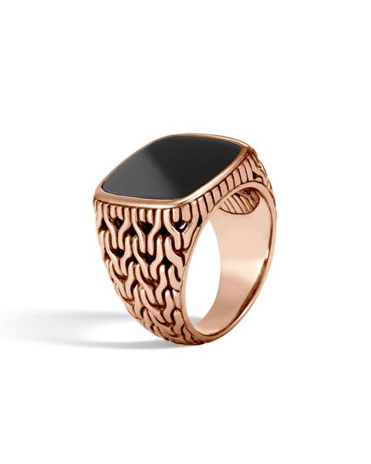 John Hardy - Metallic Classic Chain Bronze Signet Ring With Onyx for Men - Lyst