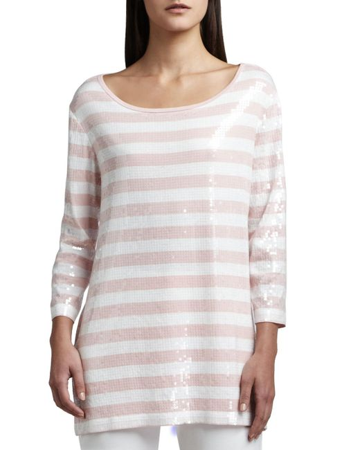 Joan Vass - White Sequined Striped Tunic - Lyst