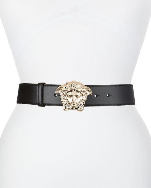 Versace Black Leather Belt W/ Medusa Buckle