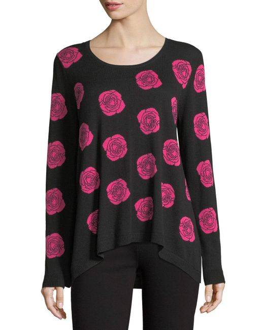 Joan Vass | Pink Falling Rose Intarsia Cotton Sweater | Lyst