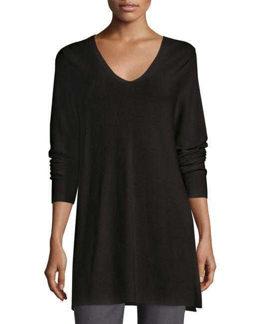 Eileen Fisher | Black Crisp Cotton Links Long-sleeve V-neck Tunic | Lyst