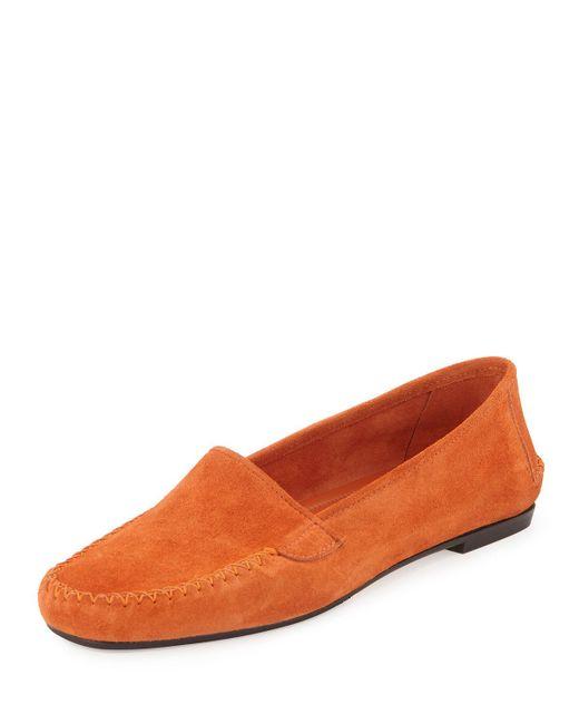 Manolo Blahnik - Orange Speed Suede Moccasin Flat - Lyst