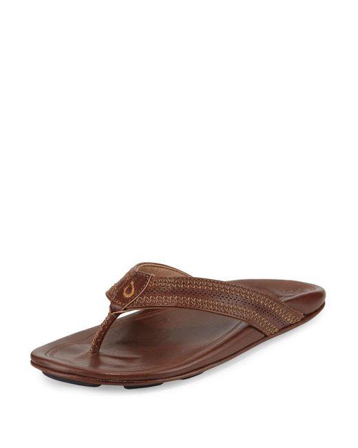 Olukai - Brown Po'okela Leather Thong Sandal - Lyst