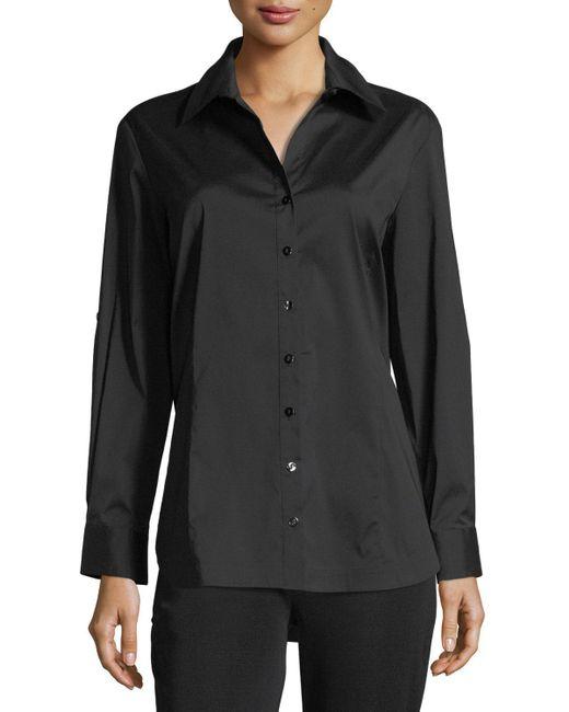 Misook Black Petite Long-sleeve Button-front Shirt