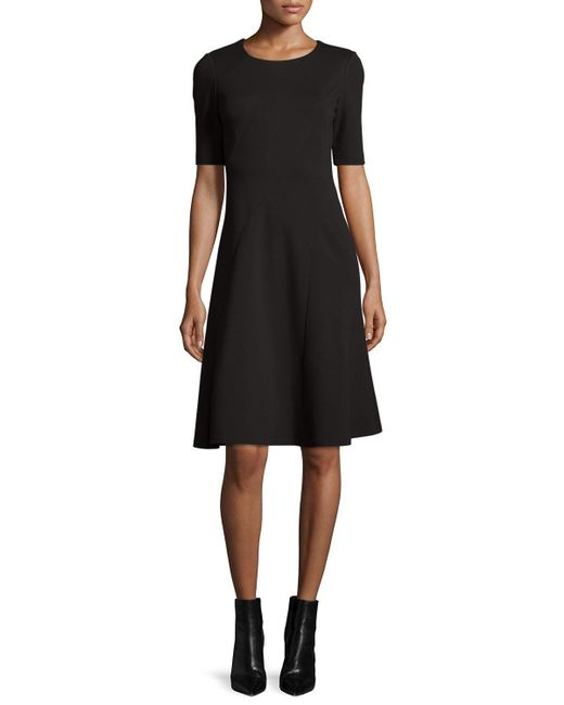 Lafayette 148 New York | Black Half-sleeve Fit-and-flare Dress | Lyst