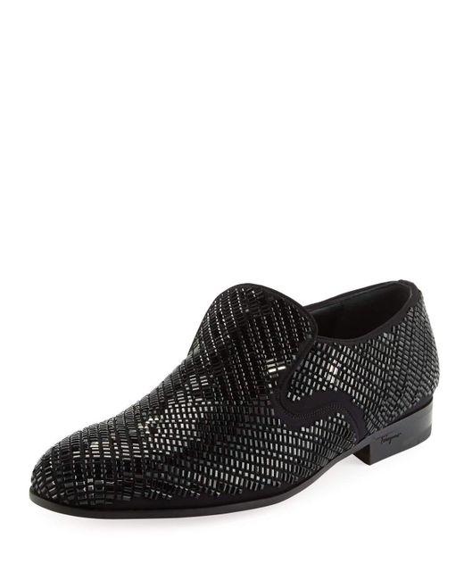 Ferragamo - Black Delroy 2 Crystal-studded Formal Loafer for Men - Lyst