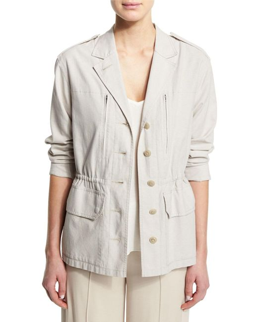 ATM - Natural Cotton Button-front Field Jacket - Lyst