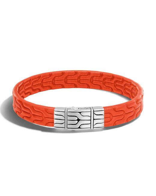 John Hardy | Orange Classic Chain Men's Leather Bracelet for Men | Lyst