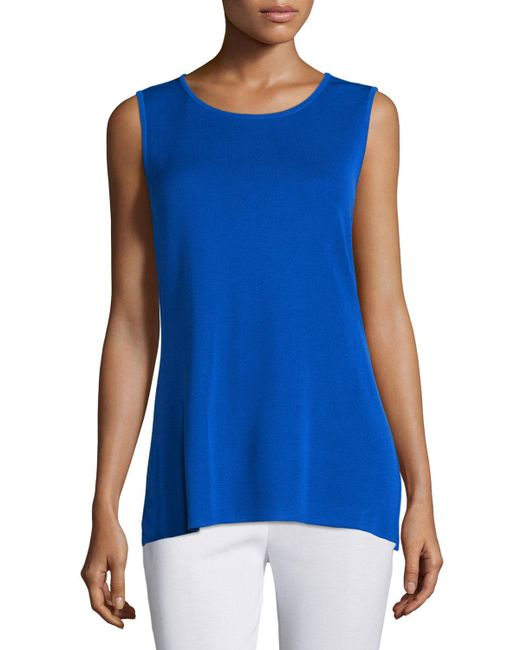 Misook - Blue Crewneck Long Knit Tank Top - Lyst