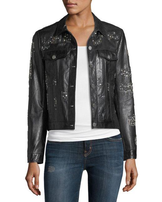 Neiman Marcus - Black Leather Crystal Motorcycle Jacket - Lyst