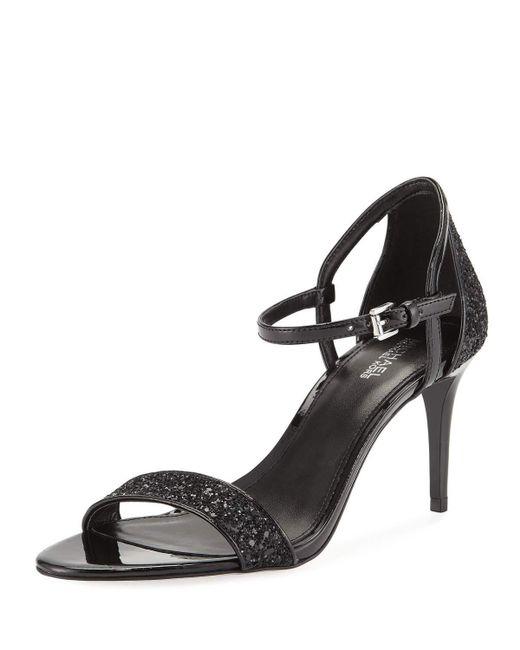 MICHAEL Michael Kors - Black Simone Glitter & Faux-patent Mid-heel Sandals - Lyst