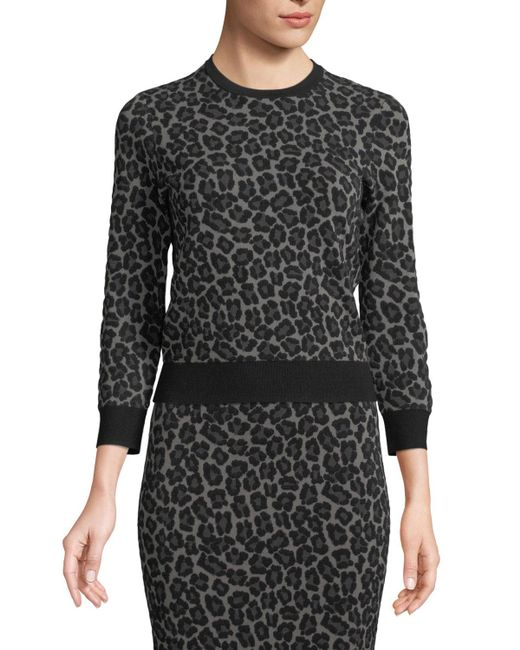 Michael Kors - Black Crewneck Leopard-print Stretch-viscose Pullover Top - Lyst