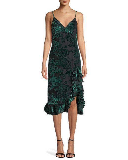 Caroline Constas Green Elvira Velvet Burnout Ruffle Slip Dress