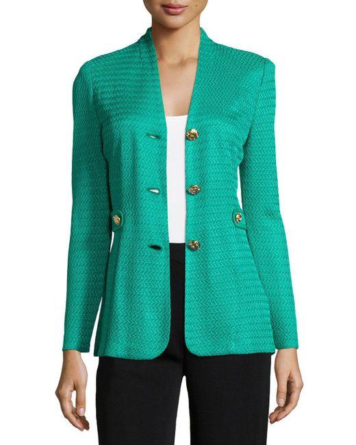 Misook - Blue Textured Gold-button Jacket - Lyst