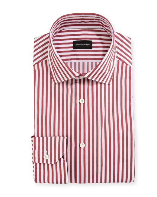 Purple Men's Washed Bengal Striped Cotton Dress Shirt