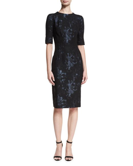 Teri Jon | Black Elbow-sleeve Stretch-jacquard Midi Cocktail Dress | Lyst