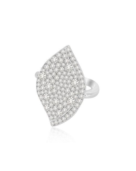 Sutra Metallic 18k White Gold Lotus Leaf Full-diamond Ring, Size 7