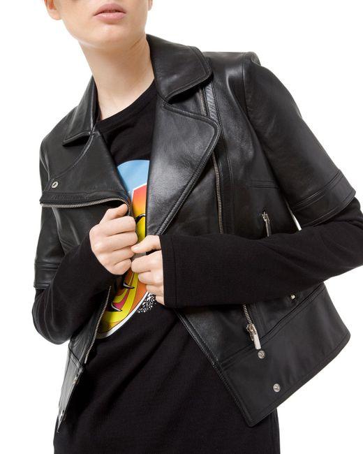 Michael Kors - Black Short-sleeve Plonge Leather Moto Jacket - Lyst